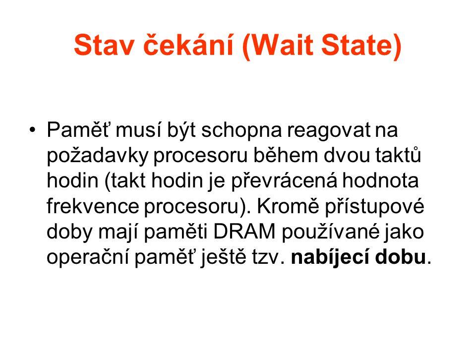 Stav čekání (Wait State) Paměť musí být schopna reagovat na požadavky procesoru během dvou taktů hodin (takt hodin je převrácená hodnota frekvence pro