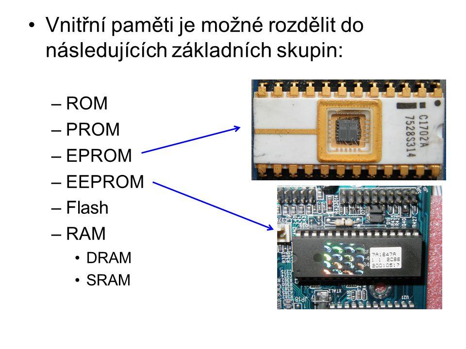 Vnitřní paměti je možné rozdělit do následujících základních skupin: –ROM –PROM –EPROM –EEPROM –Flash –RAM DRAM SRAM