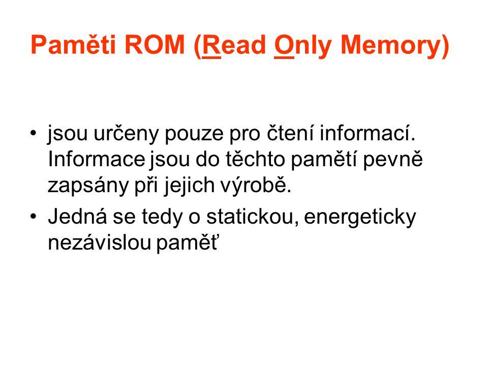Paměti ROM (Read Only Memory) jsou určeny pouze pro čtení informací. Informace jsou do těchto pamětí pevně zapsány při jejich výrobě. Jedná se tedy o