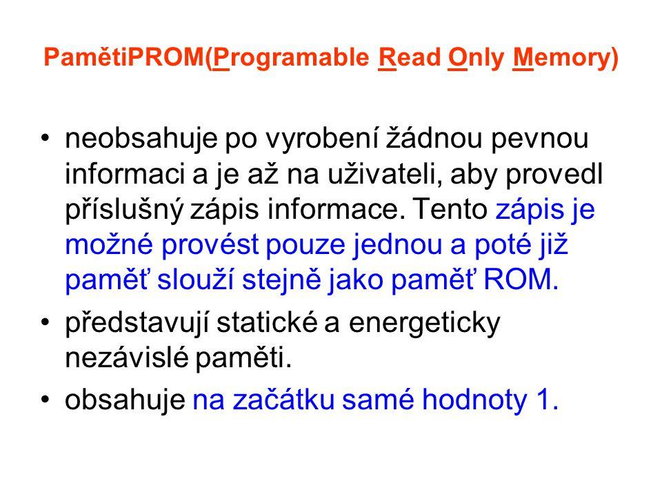 PamětiPROM(Programable Read Only Memory) neobsahuje po vyrobení žádnou pevnou informaci a je až na uživateli, aby provedl příslušný zápis informace.
