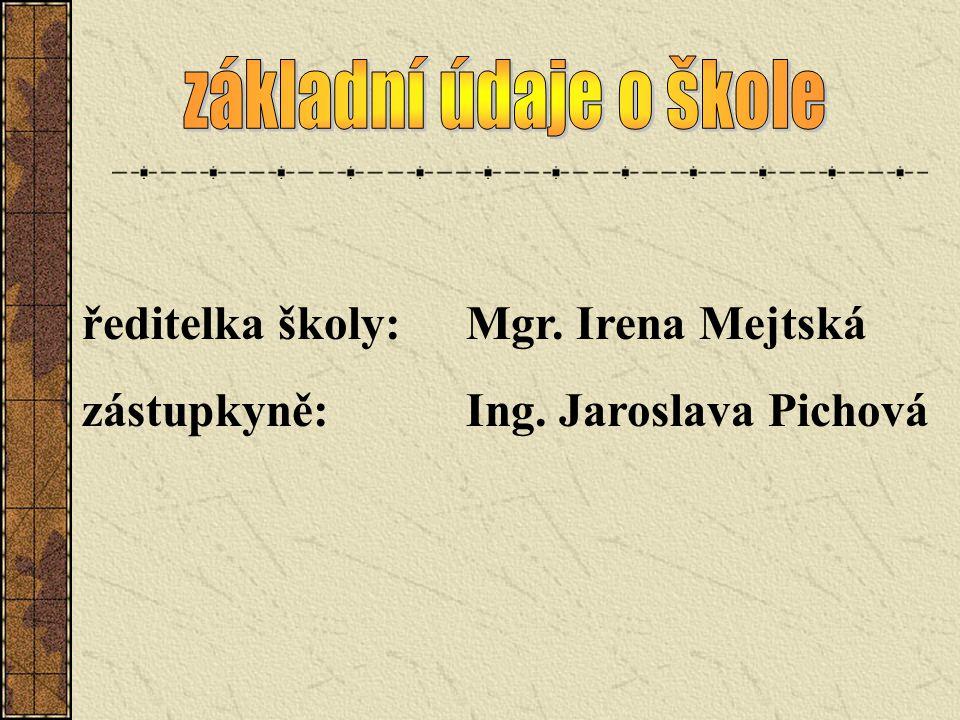 ředitelka školy:Mgr. Irena Mejtská zástupkyně:Ing. Jaroslava Pichová