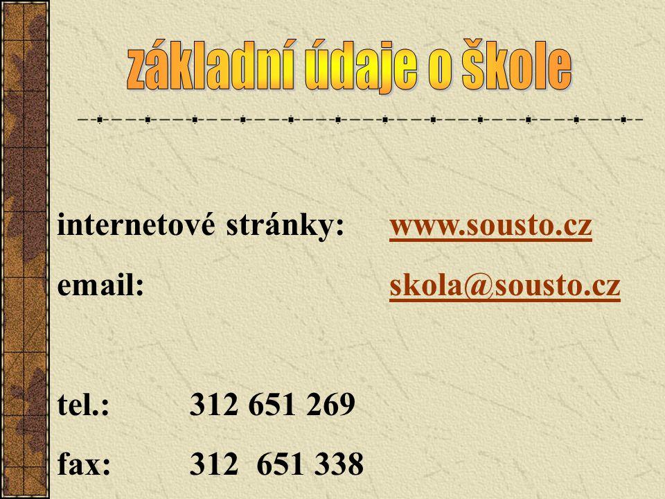 internetové stránky:www.sousto.czwww.sousto.cz email:skola@sousto.czskola@sousto.cz tel.:312 651 269 fax:312651 338