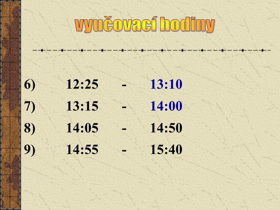 6)12:25-13:10 7)13:15-14:00 8)14:05-14:50 9)14:55-15:40