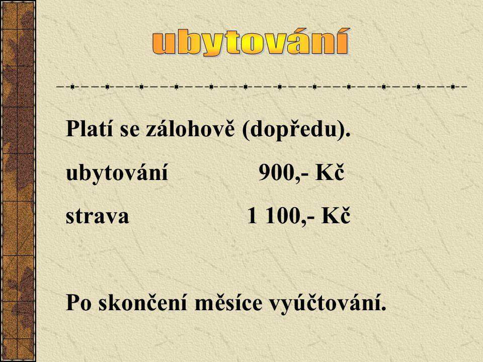 Platí se zálohově (dopředu). ubytování900,- Kč strava 1 100,- Kč Po skončení měsíce vyúčtování.