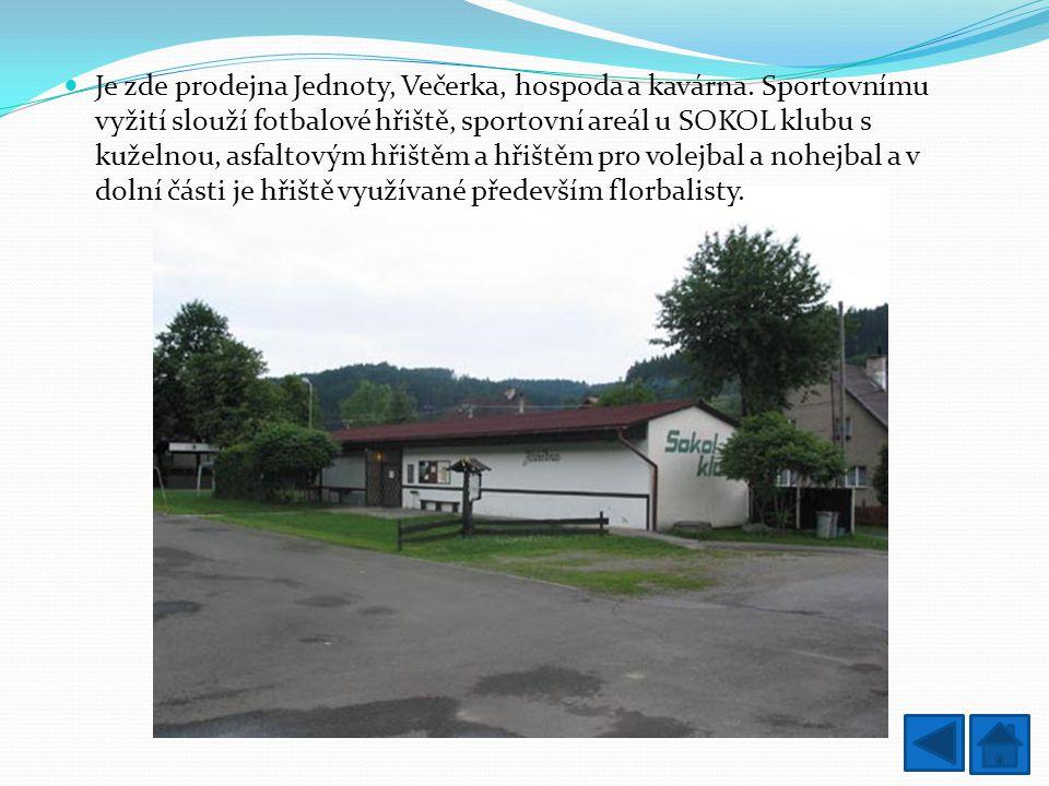 Je zde prodejna Jednoty, Večerka, hospoda a kavárna. Sportovnímu vyžití slouží fotbalové hřiště, sportovní areál u SOKOL klubu s kuželnou, asfaltovým