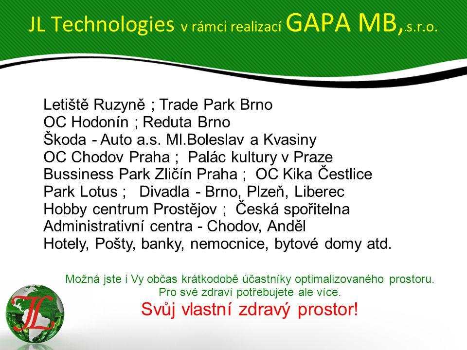 JL Technologies v rámci realizací GAPA MB,. s.r.o.