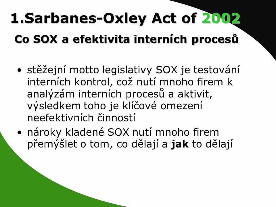 1.Sarbanes-Oxley Act of 2002 Co SOX a efektivita interních procesů stěžejní motto legislativy SOX je testování interních kontrol, což nutí mnoho firem k analýzám interních procesů a aktivit, výsledkem toho je klíčové omezení neefektivních činností nároky kladené SOX nutí mnoho firem přemýšlet o tom, co dělají a jak to dělají