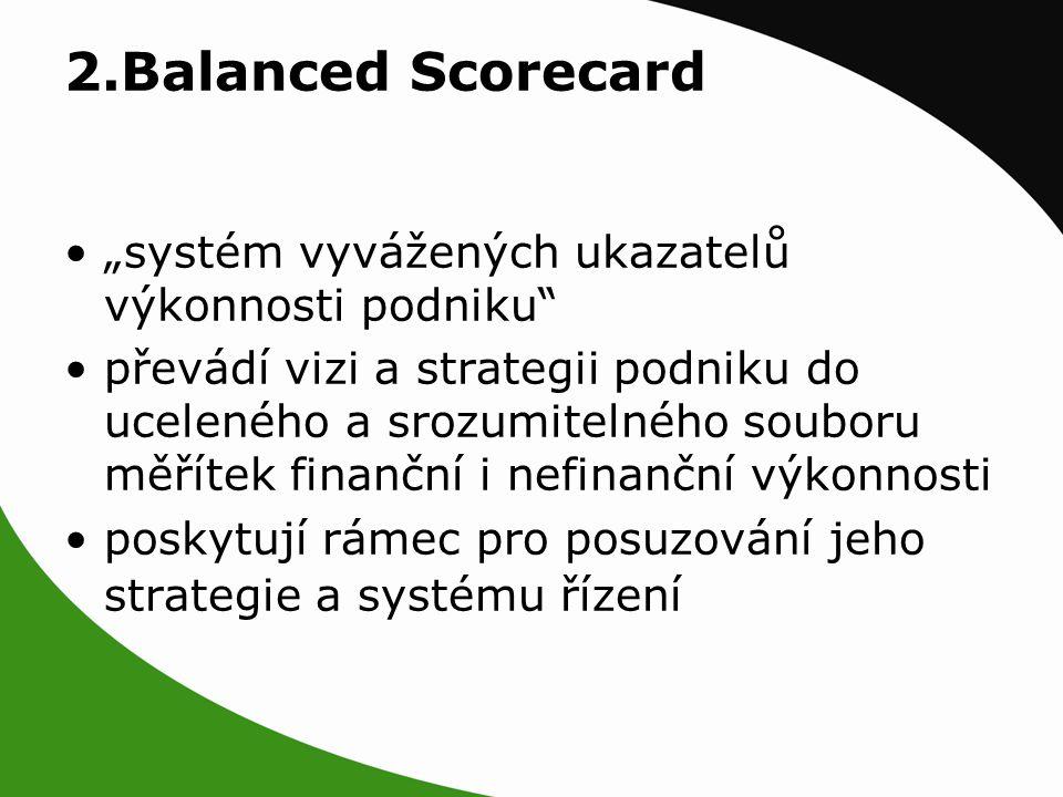 """2.Balanced Scorecard """"systém vyvážených ukazatelů výkonnosti podniku převádí vizi a strategii podniku do uceleného a srozumitelného souboru měřítek finanční i nefinanční výkonnosti poskytují rámec pro posuzování jeho strategie a systému řízení"""