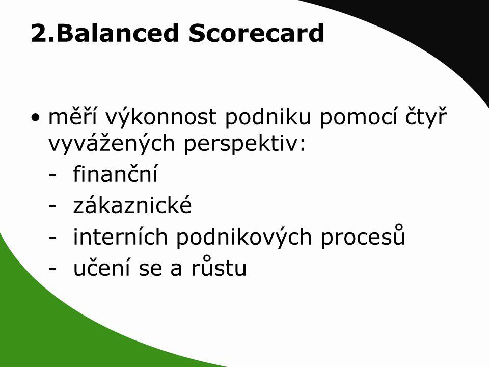 2.Balanced Scorecard měří výkonnost podniku pomocí čtyř vyvážených perspektiv: - finanční - zákaznické - interních podnikových procesů - učení se a růstu