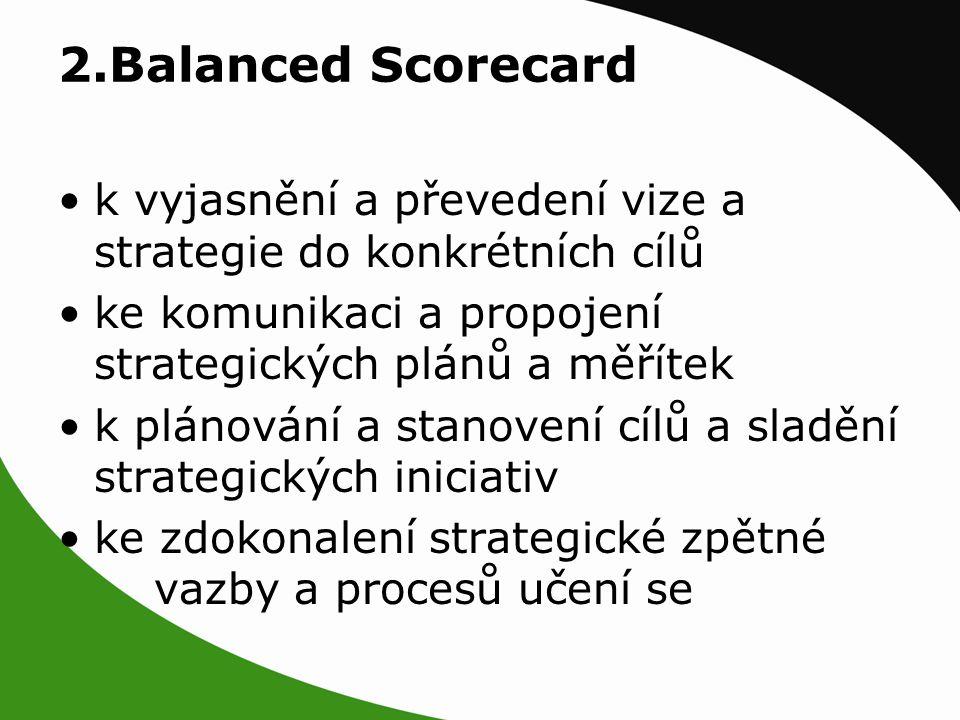 2.Balanced Scorecard k vyjasnění a převedení vize a strategie do konkrétních cílů ke komunikaci a propojení strategických plánů a měřítek k plánování a stanovení cílů a sladění strategických iniciativ ke zdokonalení strategické zpětné vazby a procesů učení se