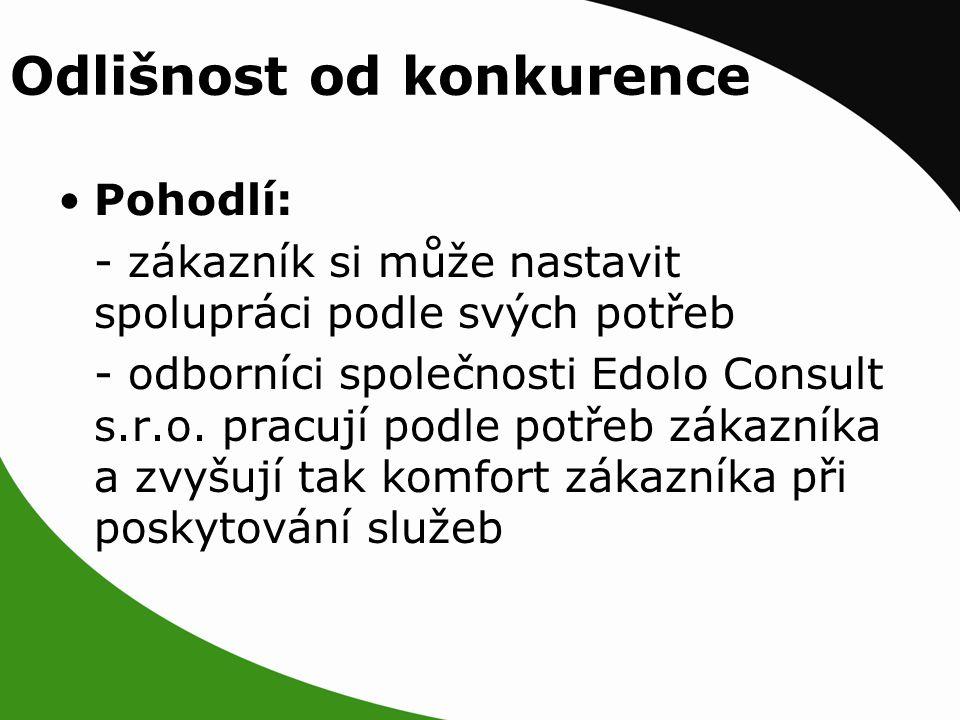 Pohodlí: - zákazník si může nastavit spolupráci podle svých potřeb - odborníci společnosti Edolo Consult s.r.o.