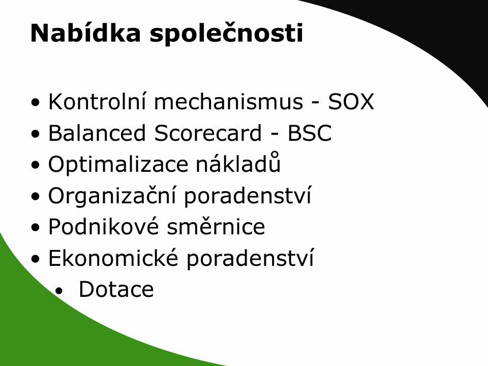Nabídka společnosti Kontrolní mechanismus - SOX Balanced Scorecard - BSC Optimalizace nákladů Organizační poradenství Podnikové směrnice Ekonomické poradenství Dotace