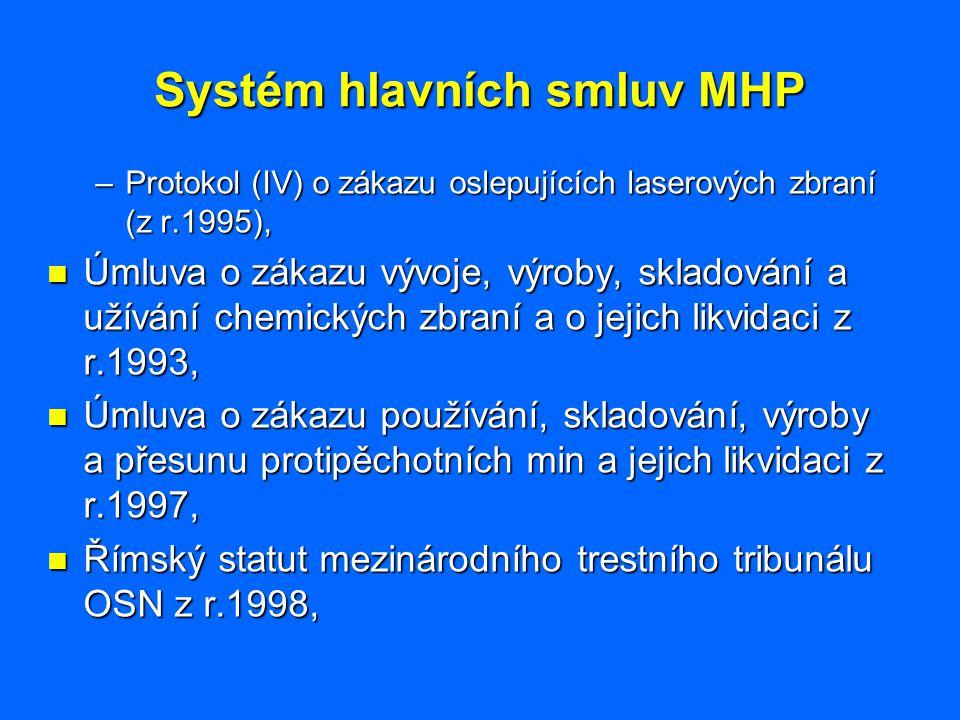 Systém hlavních smluv MHP –Protokol (IV) o zákazu oslepujících laserových zbraní (z r.1995), Úmluva o zákazu vývoje, výroby, skladování a užívání chem