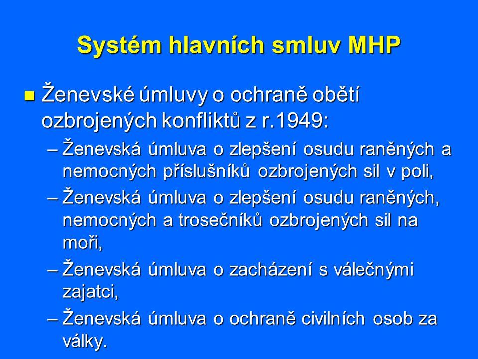 Systém hlavních smluv MHP Ženevské úmluvy o ochraně obětí ozbrojených konfliktů z r.1949: Ženevské úmluvy o ochraně obětí ozbrojených konfliktů z r.19