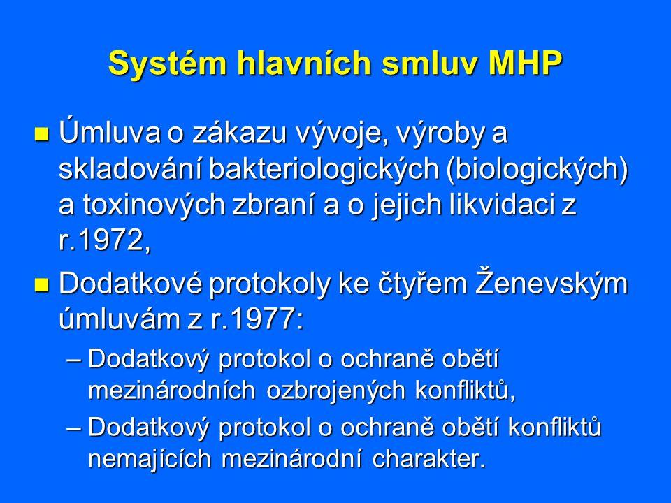 Systém hlavních smluv MHP Úmluva o zákazu vývoje, výroby a skladování bakteriologických (biologických) a toxinových zbraní a o jejich likvidaci z r.19
