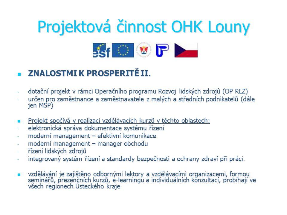 Projektová činnost OHK Louny ZNALOSTMI K PROSPERITĚ II.