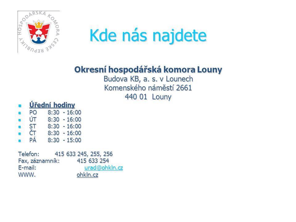 Kde nás najdete Okresní hospodářská komora Louny Budova KB, a.