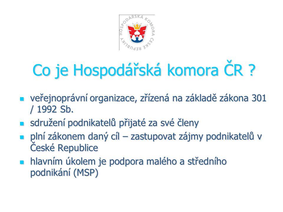 Co je Hospodářská komora ČR .veřejnoprávní organizace, zřízená na základě zákona 301 / 1992 Sb.