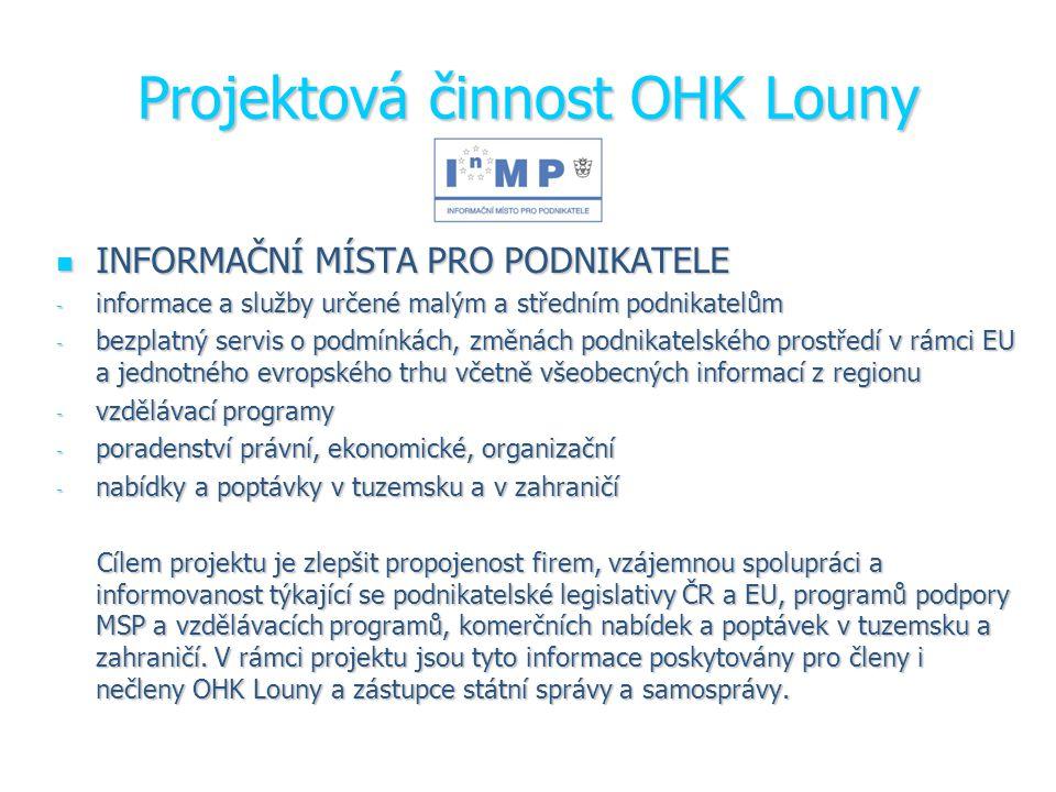 Projektová činnost OHK Louny INFORMAČNÍ MÍSTA PRO PODNIKATELE INFORMAČNÍ MÍSTA PRO PODNIKATELE - informace a služby určené malým a středním podnikatelům - bezplatný servis o podmínkách, změnách podnikatelského prostředí v rámci EU a jednotného evropského trhu včetně všeobecných informací z regionu - vzdělávací programy - poradenství právní, ekonomické, organizační - nabídky a poptávky v tuzemsku a v zahraničí Cílem projektu je zlepšit propojenost firem, vzájemnou spolupráci a informovanost týkající se podnikatelské legislativy ČR a EU, programů podpory MSP a vzdělávacích programů, komerčních nabídek a poptávek v tuzemsku a zahraničí.