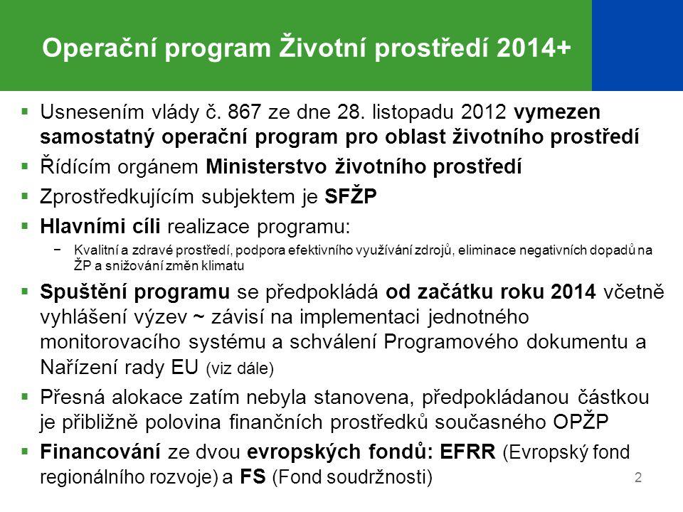Operační program Životní prostředí 2014+  Usnesením vlády č.