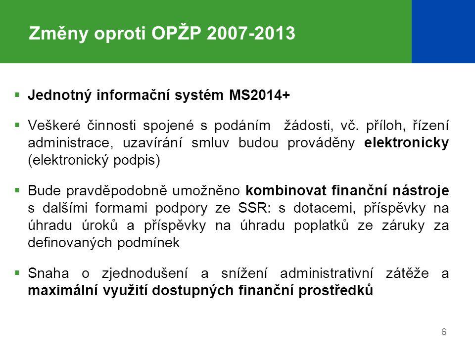 Změny oproti OPŽP 2007-2013  Jednotný informační systém MS2014+  Veškeré činnosti spojené s podáním žádosti, vč.