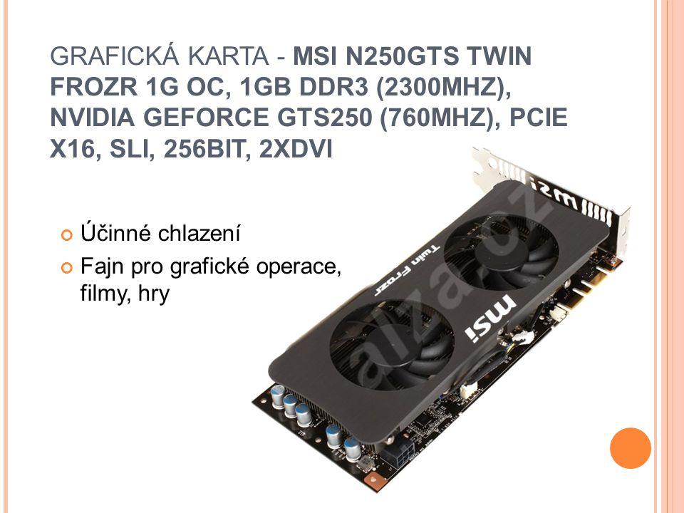 GRAFICKÁ KARTA - MSI N250GTS TWIN FROZR 1G OC, 1GB DDR3 (2300MHZ), NVIDIA GEFORCE GTS250 (760MHZ), PCIE X16, SLI, 256BIT, 2XDVI Účinné chlazení Fajn pro grafické operace, filmy, hry