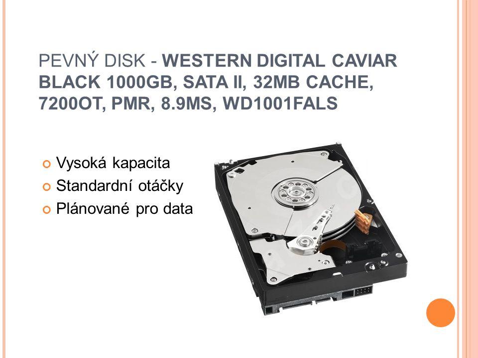 PEVNÝ DISK - WESTERN DIGITAL CAVIAR BLACK 1000GB, SATA II, 32MB CACHE, 7200OT, PMR, 8.9MS, WD1001FALS Vysoká kapacita Standardní otáčky Plánované pro data