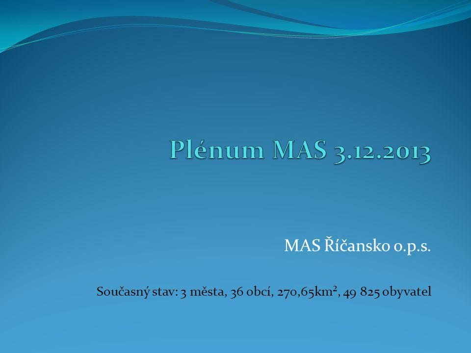 MAS Říčansko o.p.s. Současný stav: 3 města, 36 obcí, 270,65km², 49 825 obyvatel