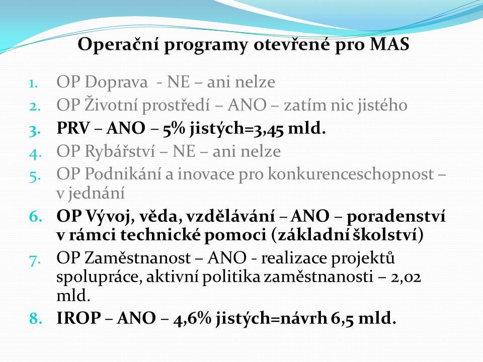 Operační programy otevřené pro MAS 1. OP Doprava - NE – ani nelze 2. OP Životní prostředí – ANO – zatím nic jistého 3. PRV – ANO – 5% jistých=3,45 mld