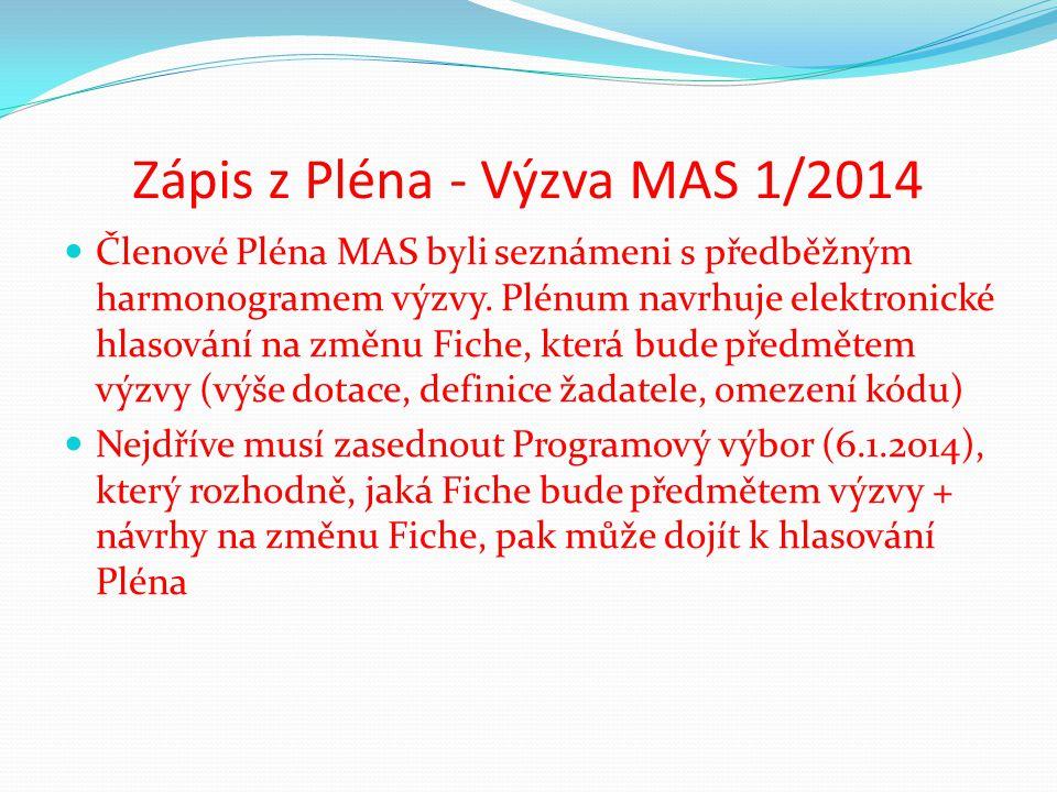 Zápis z Pléna - Výzva MAS 1/2014 Členové Pléna MAS byli seznámeni s předběžným harmonogramem výzvy. Plénum navrhuje elektronické hlasování na změnu Fi