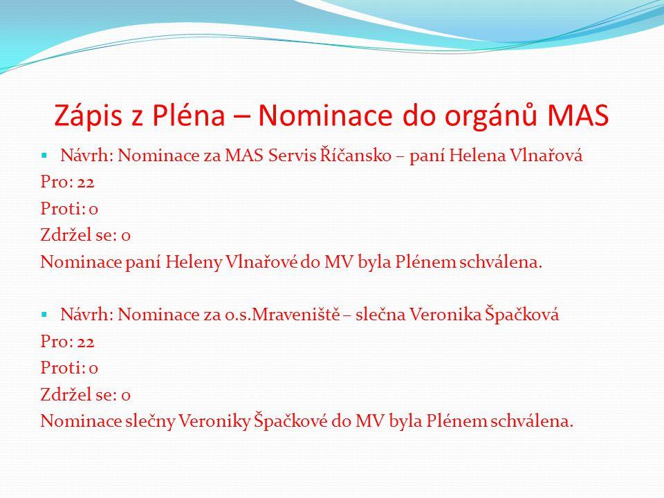 Zápis z Pléna – Nominace do orgánů MAS  Návrh: Nominace za MAS Servis Říčansko – paní Helena Vlnařová Pro: 22 Proti: 0 Zdržel se: 0 Nominace paní Heleny Vlnařové do MV byla Plénem schválena.