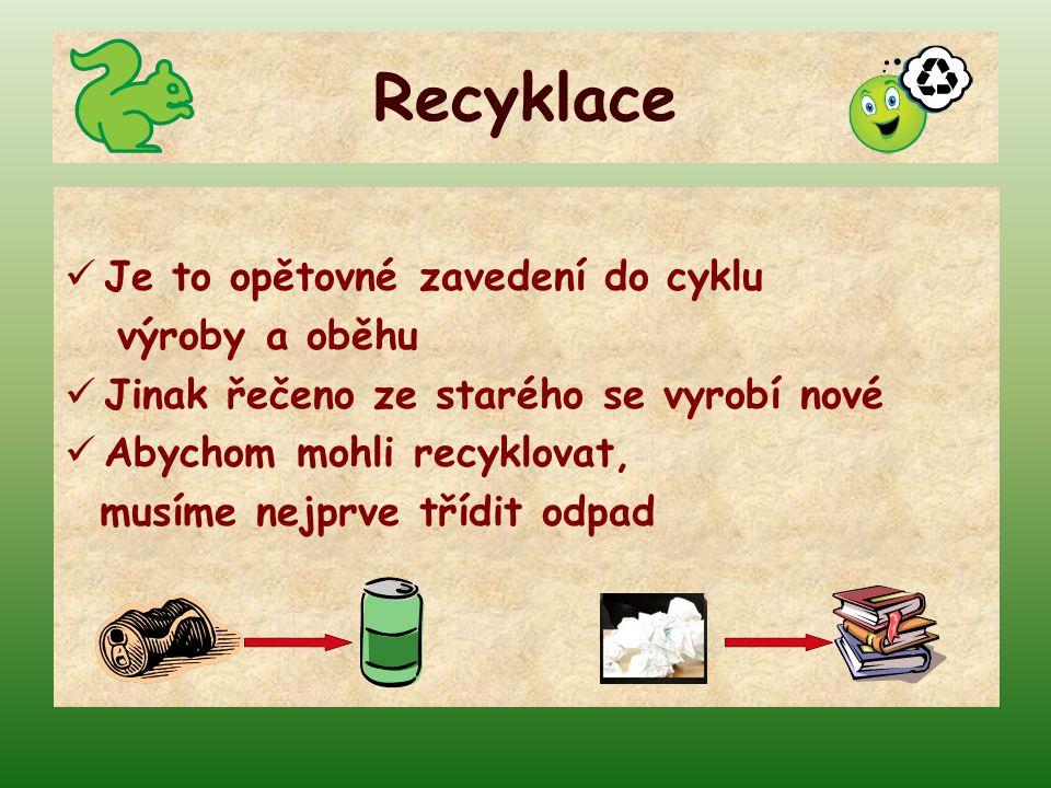 Třídění odpadu ROZDĚLOVAT ODPAD PODLE POUŽITÉHO MATERIÁLU JE TO DŮLEŽITÉ PRO OCHRANU PŘÍRODY CHRÁNÍME JI PŘED ZNEČIŠTĚNÍM ŠETŘÍME PŘÍRODNÍ ZDROJE