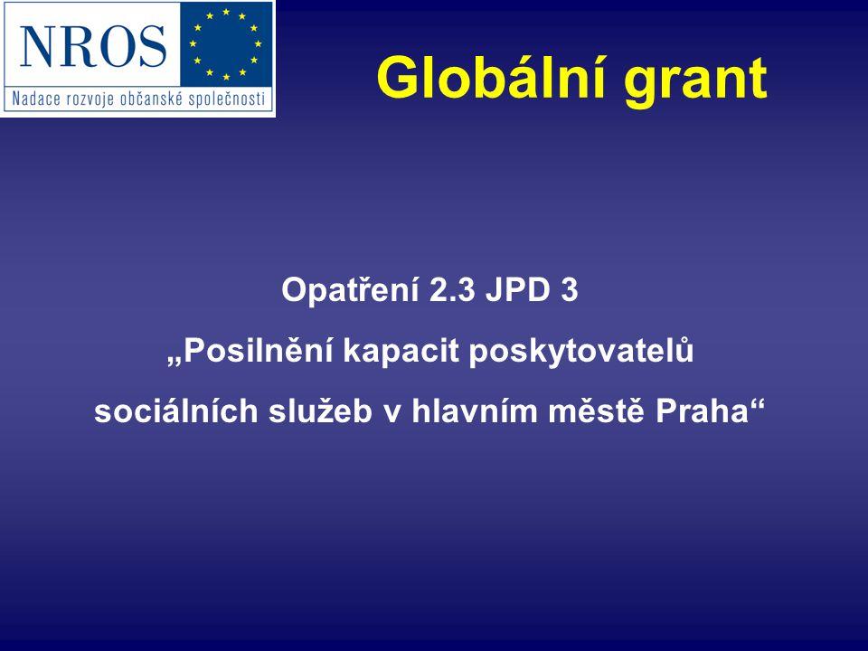 """Opatření 2.3 JPD 3 """"Posilnění kapacit poskytovatelů sociálních služeb v hlavním městě Praha Globální grant"""
