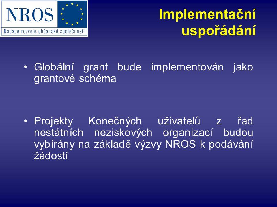 Implementační uspořádání Globální grant bude implementován jako grantové schéma Projekty Konečných uživatelů z řad nestátních neziskových organizací budou vybírány na základě výzvy NROS k podávání žádostí