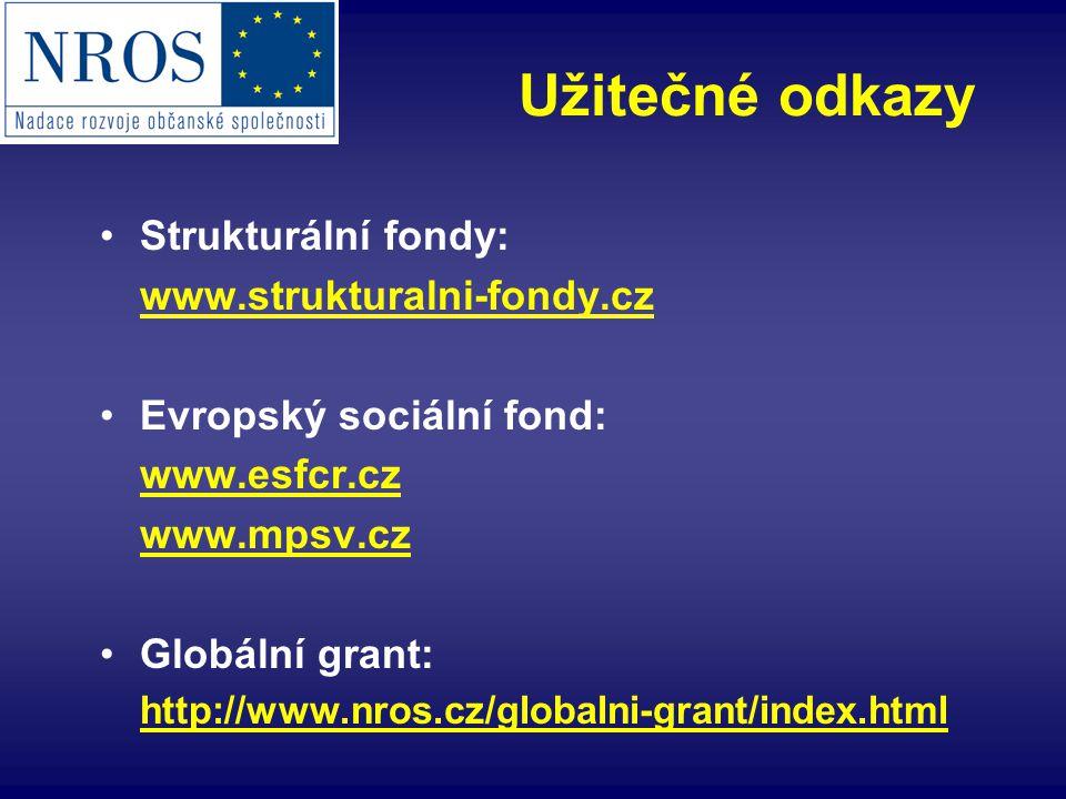 Strukturální fondy: www.strukturalni-fondy.cz Evropský sociální fond: www.esfcr.cz www.mpsv.cz Globální grant: http://www.nros.cz/globalni-grant/index.html Užitečné odkazy