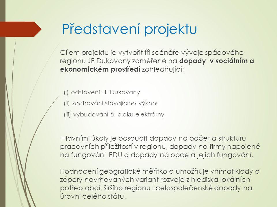 Představení projektu Cílem projektu je vytvořit tři scénáře vývoje spádového regionu JE Dukovany zaměřené na dopady v sociálním a ekonomickém prostřed