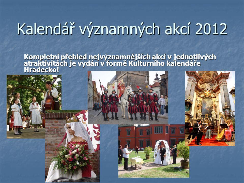 Kalendář významných akcí 2012 Kompletní přehled nejvýznamnějších akcí v jednotlivých atraktivitách je vydán v formě Kulturního kalendáře Hradecko!