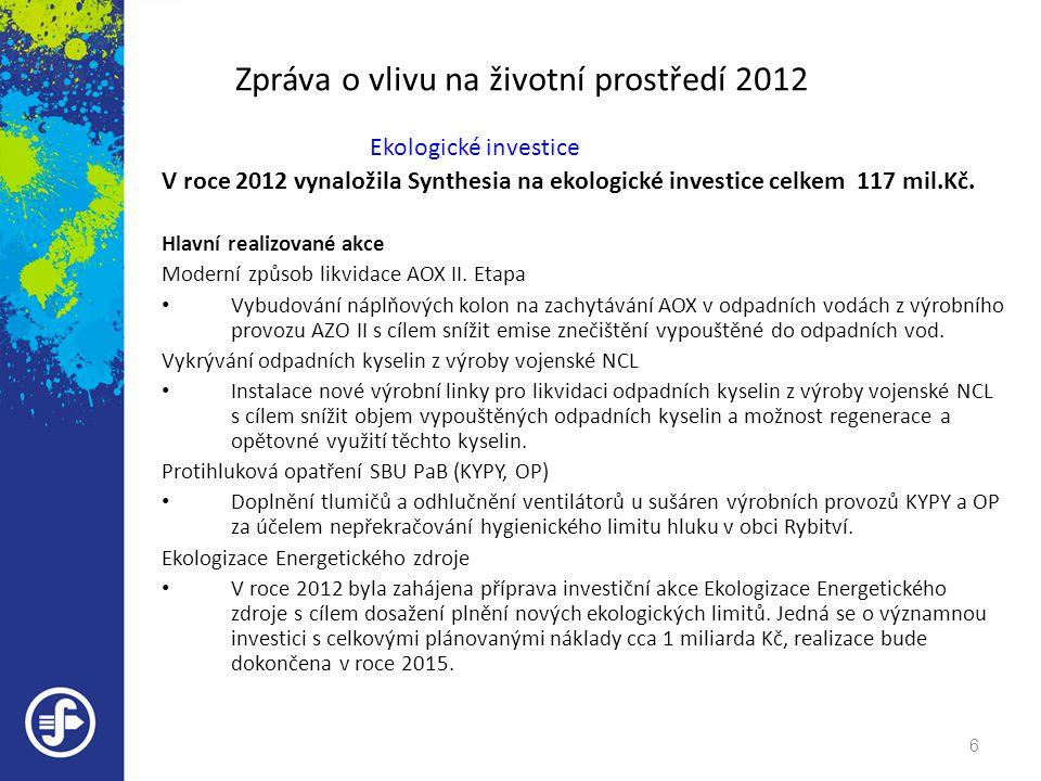Zpráva o vlivu na životní prostředí 2012 Ekologické investice V roce 2012 vynaložila Synthesia na ekologické investice celkem 117 mil.Kč. Hlavní reali