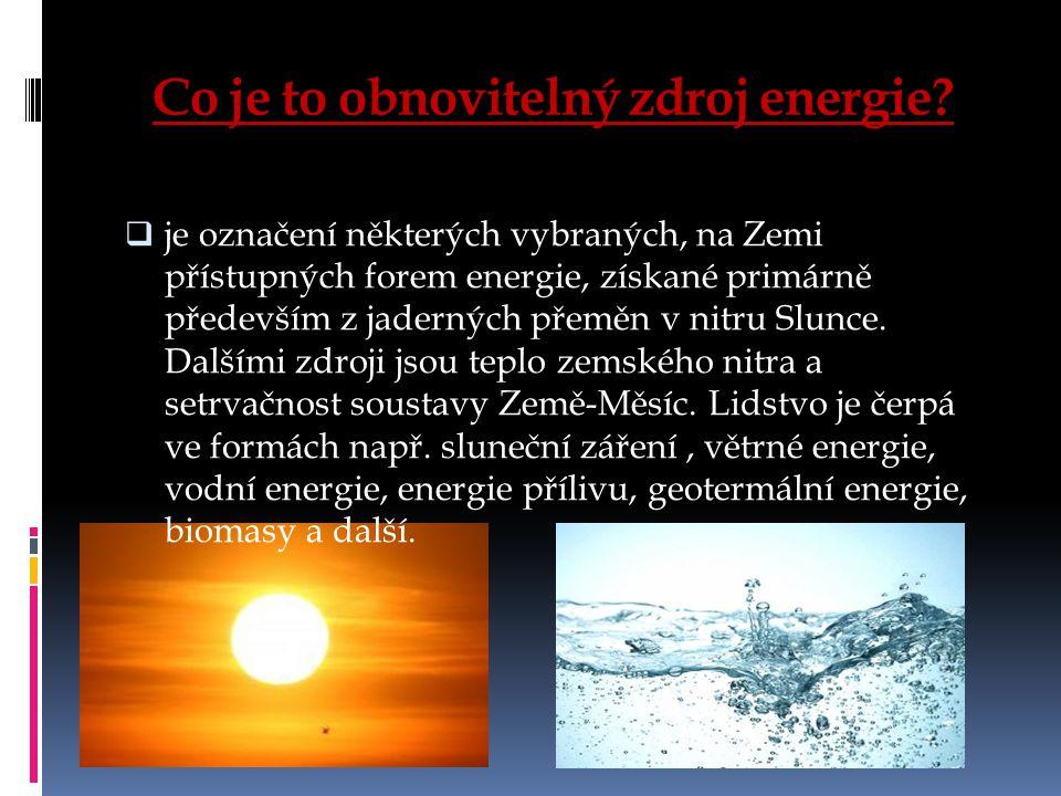 Co je to obnovitelný zdroj energie.