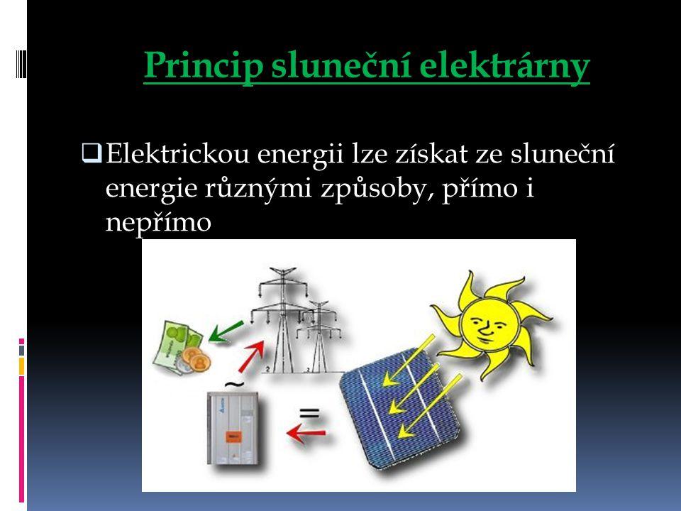 Princip sluneční elektrárny  Elektrickou energii lze získat ze sluneční energie různými způsoby, přímo i nepřímo