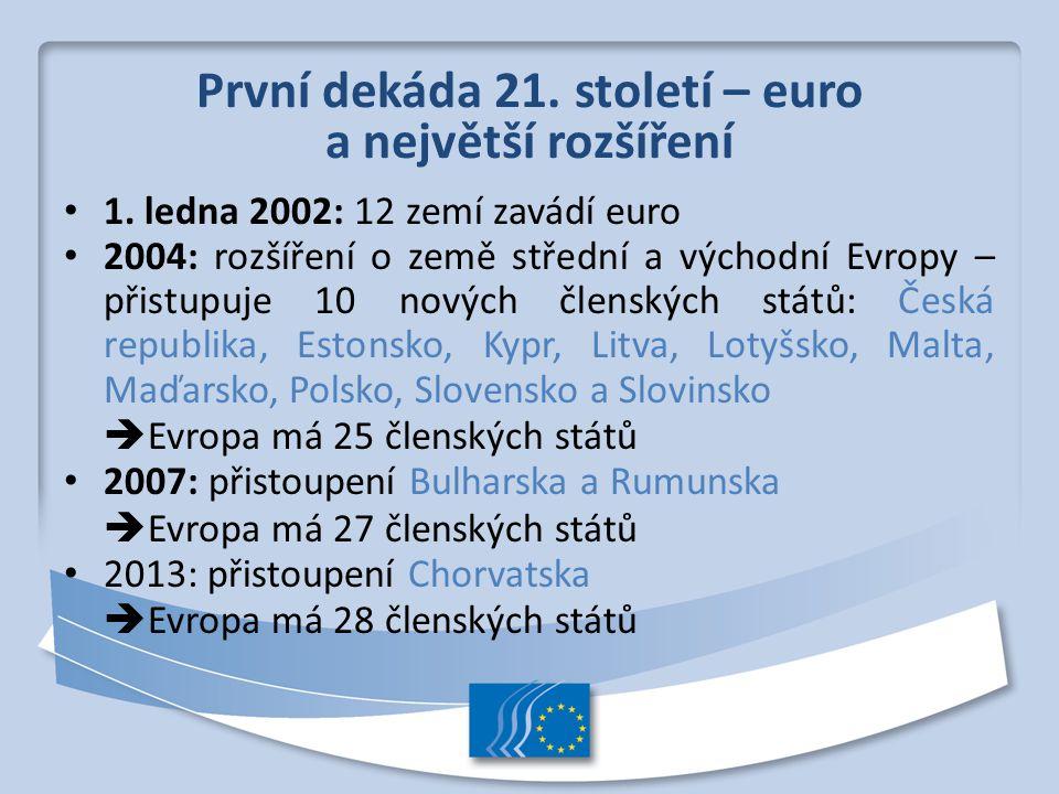 První dekáda 21. století – euro a největší rozšíření 1. ledna 2002: 12 zemí zavádí euro 2004: rozšíření o země střední a východní Evropy – přistupuje