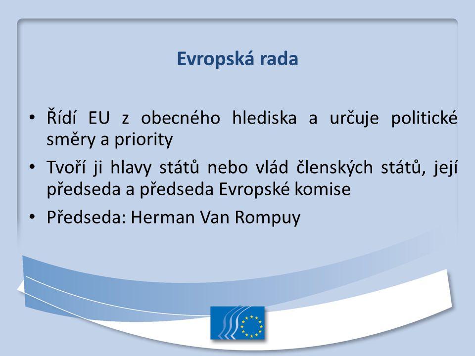 Evropská rada Řídí EU z obecného hlediska a určuje politické směry a priority Tvoří ji hlavy států nebo vlád členských států, její předseda a předseda