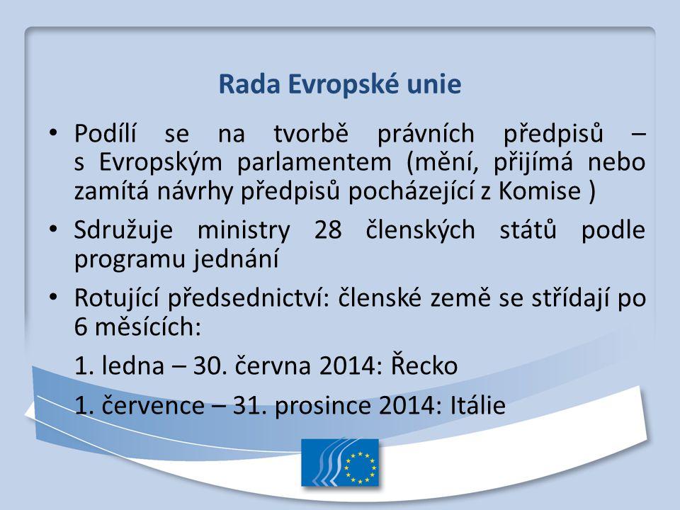 Rada Evropské unie Podílí se na tvorbě právních předpisů – s Evropským parlamentem (mění, přijímá nebo zamítá návrhy předpisů pocházející z Komise ) S
