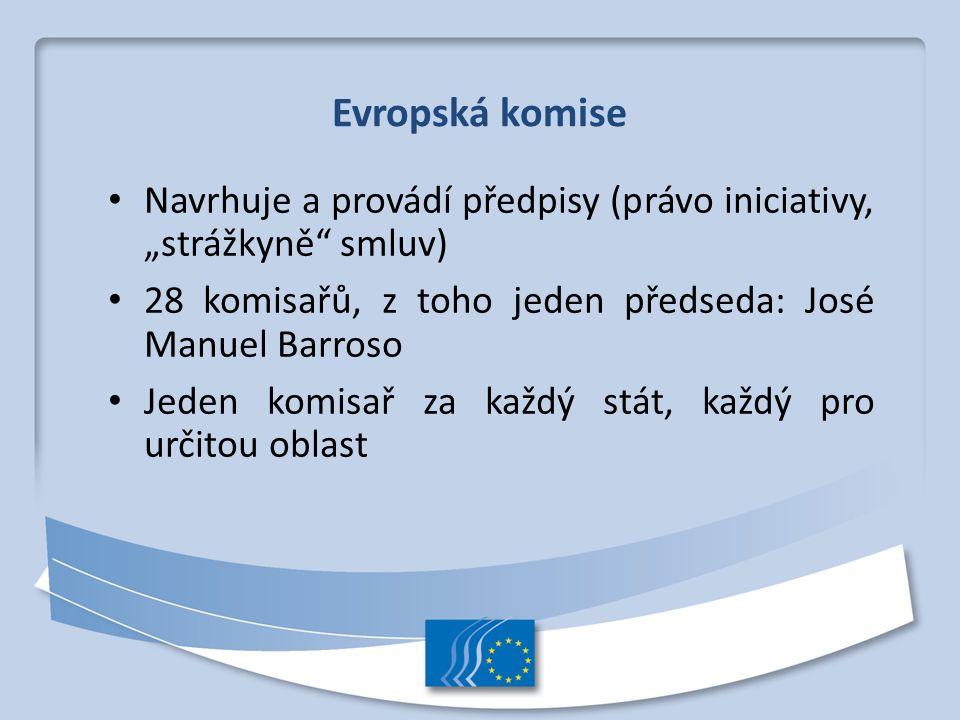 """Evropská komise Navrhuje a provádí předpisy (právo iniciativy, """"strážkyně"""" smluv) 28 komisařů, z toho jeden předseda: José Manuel Barroso Jeden komisa"""
