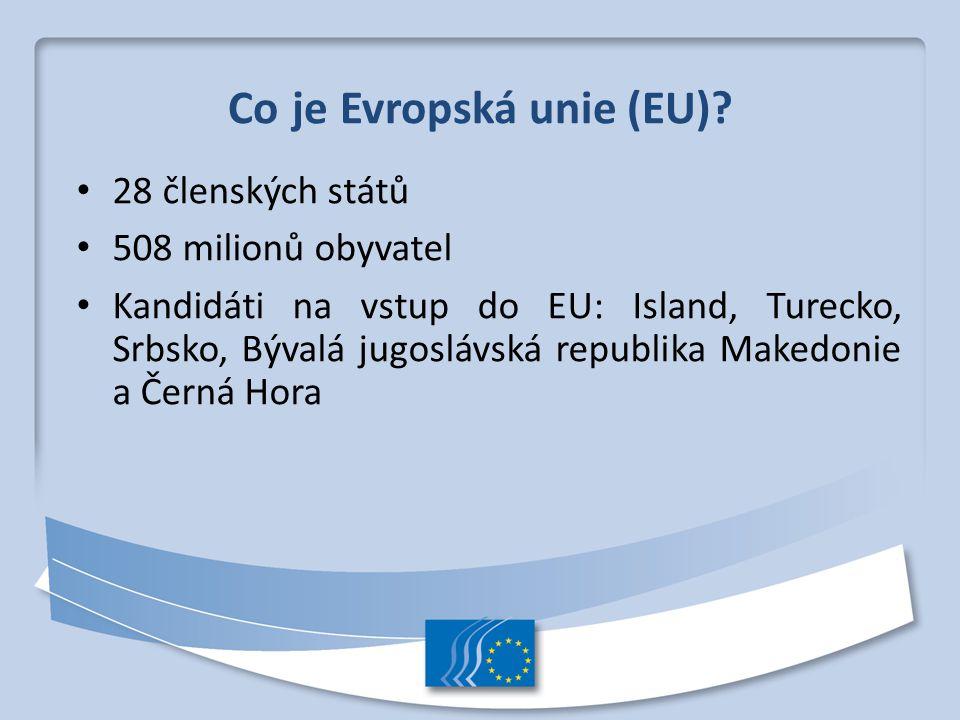 Co je Evropská unie (EU)? 28 členských států 508 milionů obyvatel Kandidáti na vstup do EU: Island, Turecko, Srbsko, Bývalá jugoslávská republika Make