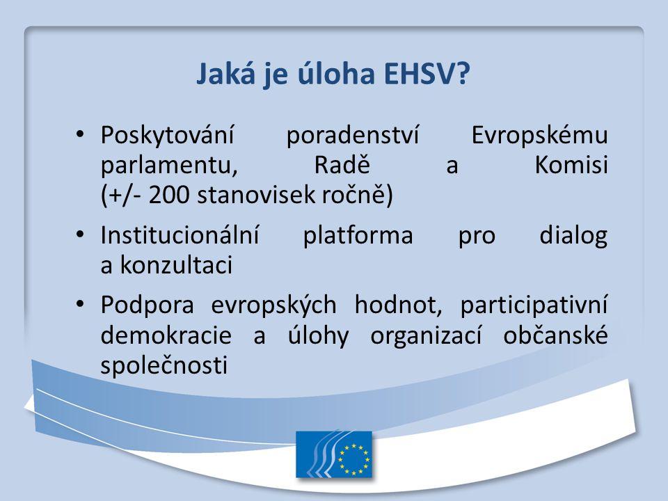 Jaká je úloha EHSV? Poskytování poradenství Evropskému parlamentu, Radě a Komisi (+/- 200 stanovisek ročně) Institucionální platforma pro dialog a kon