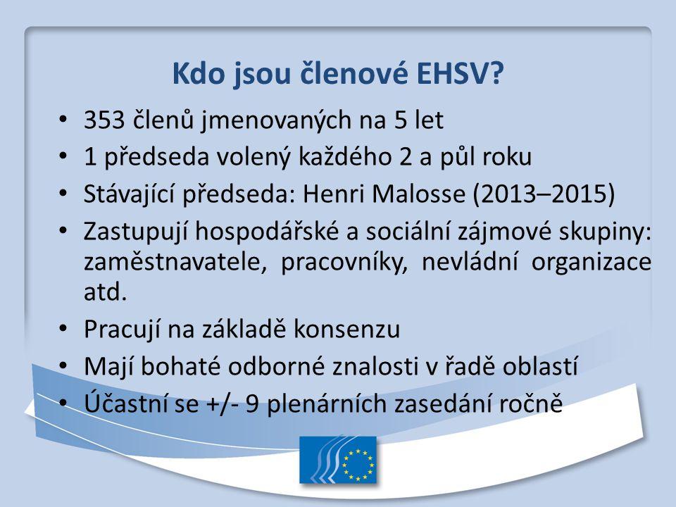 Kdo jsou členové EHSV? 353 členů jmenovaných na 5 let 1 předseda volený každého 2 a půl roku Stávající předseda: Henri Malosse (2013–2015) Zastupují h