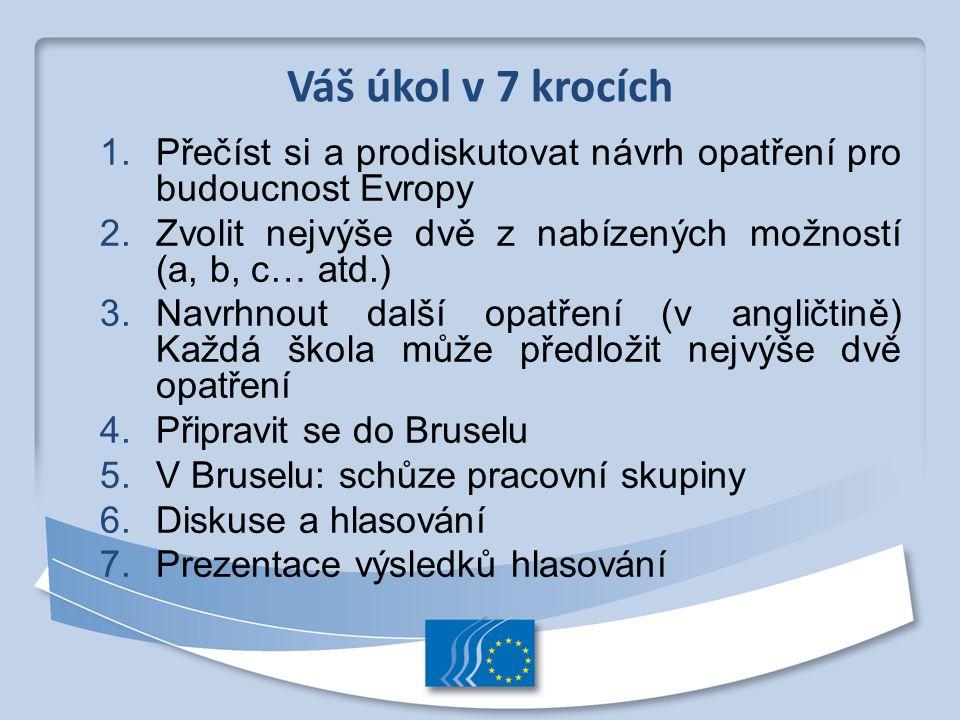 1. Přečíst si a prodiskutovat návrh opatření pro budoucnost Evropy 2. Zvolit nejvýše dvě z nabízených možností (a, b, c… atd.) 3. Navrhnout další opat