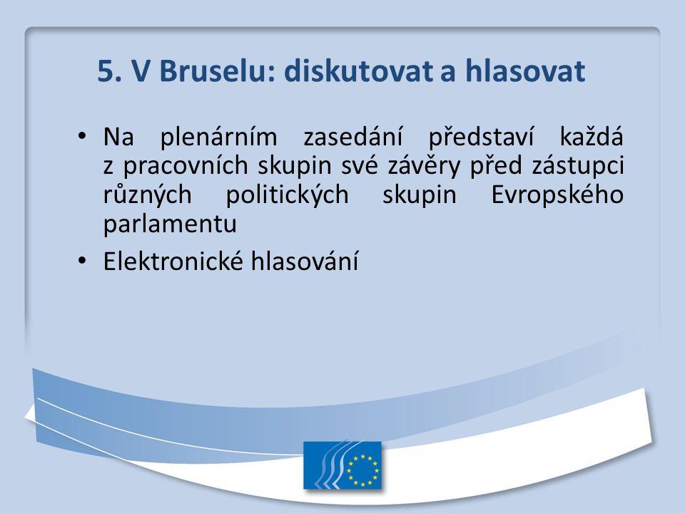 5. V Bruselu: diskutovat a hlasovat Na plenárním zasedání představí každá z pracovních skupin své závěry před zástupci různých politických skupin Evro