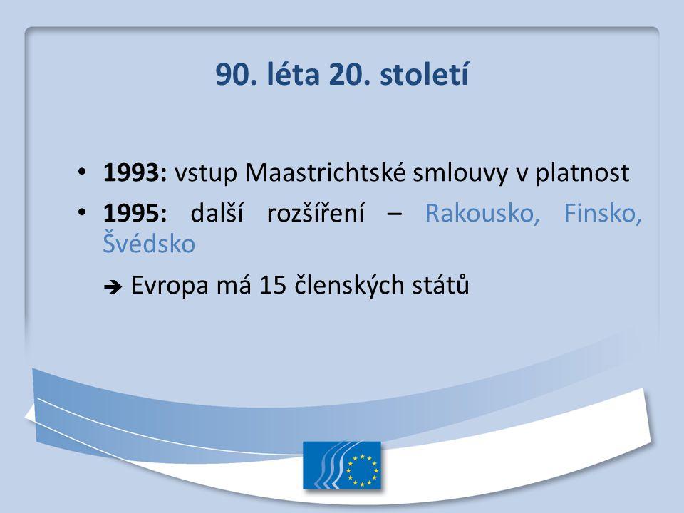 90. léta 20. století 1993: vstup Maastrichtské smlouvy v platnost 1995: další rozšíření – Rakousko, Finsko, Švédsko  Evropa má 15 členských států